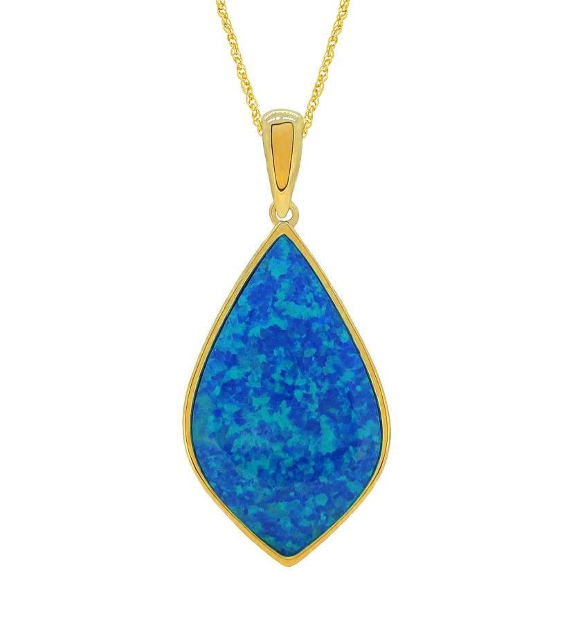 Created Blue Opal Necklace in 9ct Yellow Gold Necklaces Bevilles