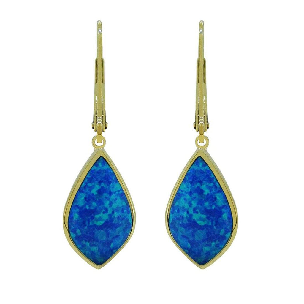 Blue Created Opal Drop Earrings in 9ct Yellow Gold Earrings Bevilles
