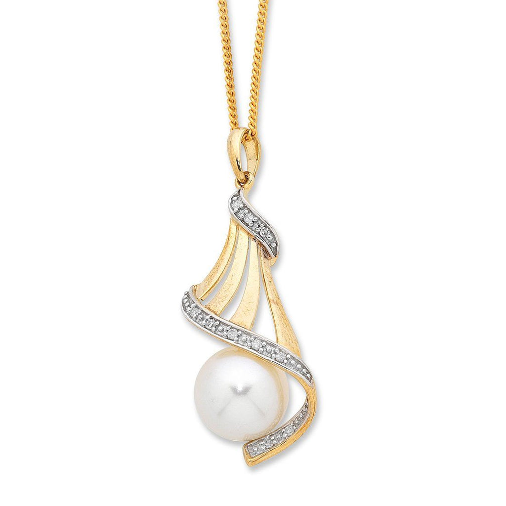 9ct Yellow Gold Freshwater Pearl & Diamond Set Necklace