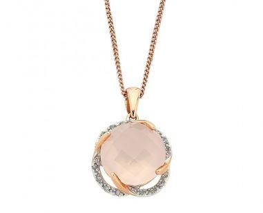 9ct Rose Gold Round Rose Quartz with Brilliant Claw Diamond Swirl Surround Necklace Necklaces Bevilles