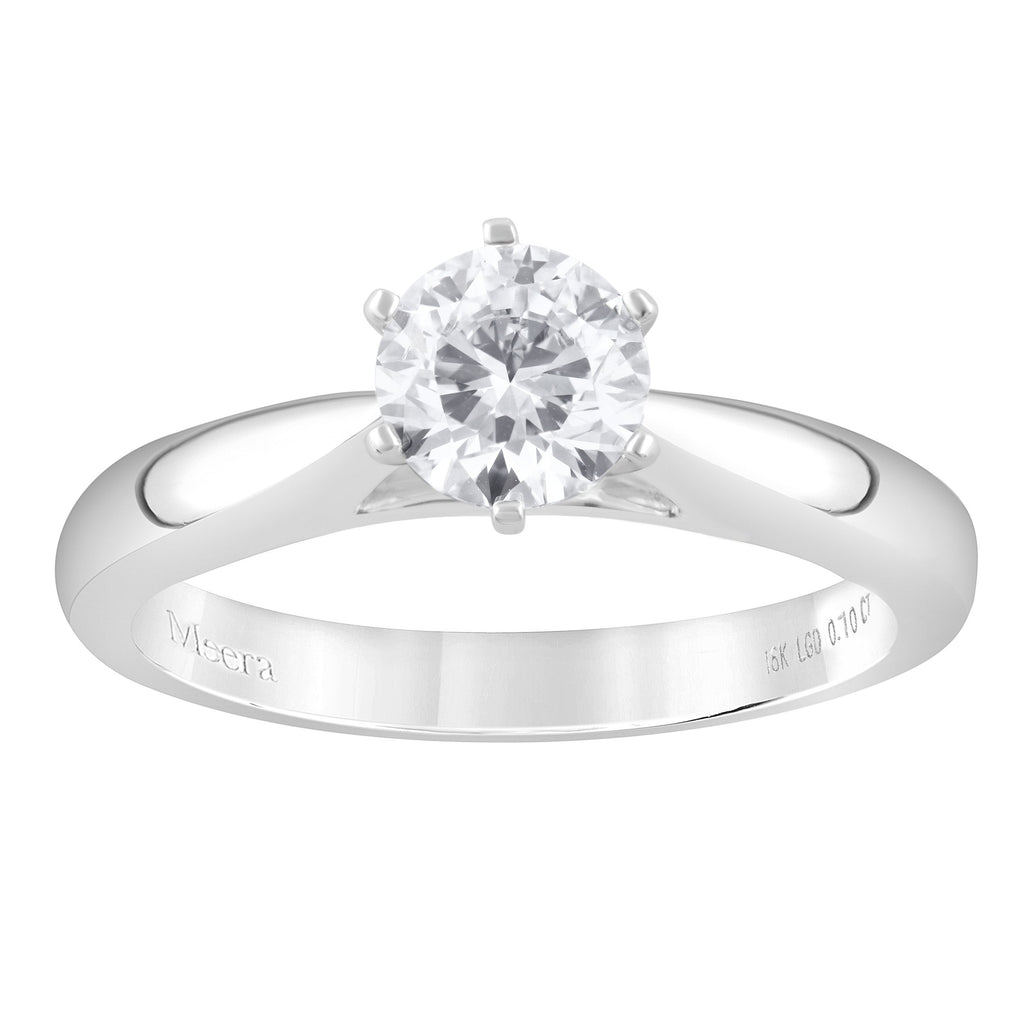 Meera Solitaire 0.70ct Laboratory Grown Diamond Ring in 18ct White Gold Rings Bevilles