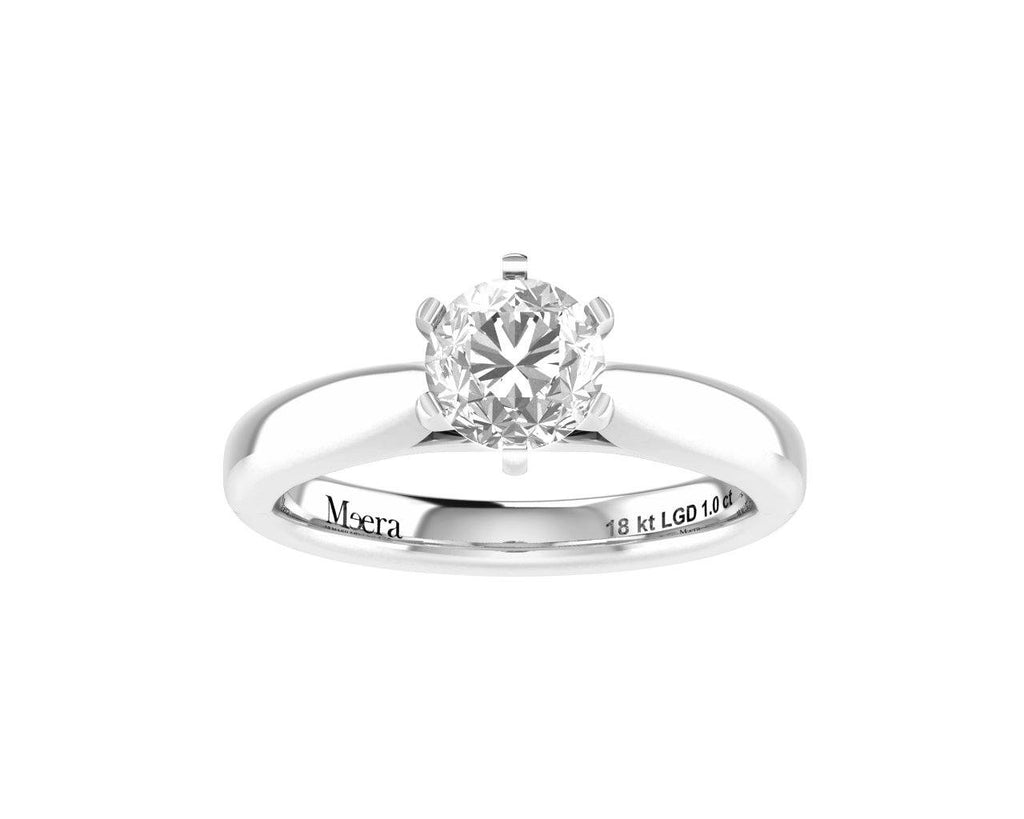 Meera Solitaire 1.00ct Laboratory Grown Diamond Ring in 18ct White Gold Rings Bevilles