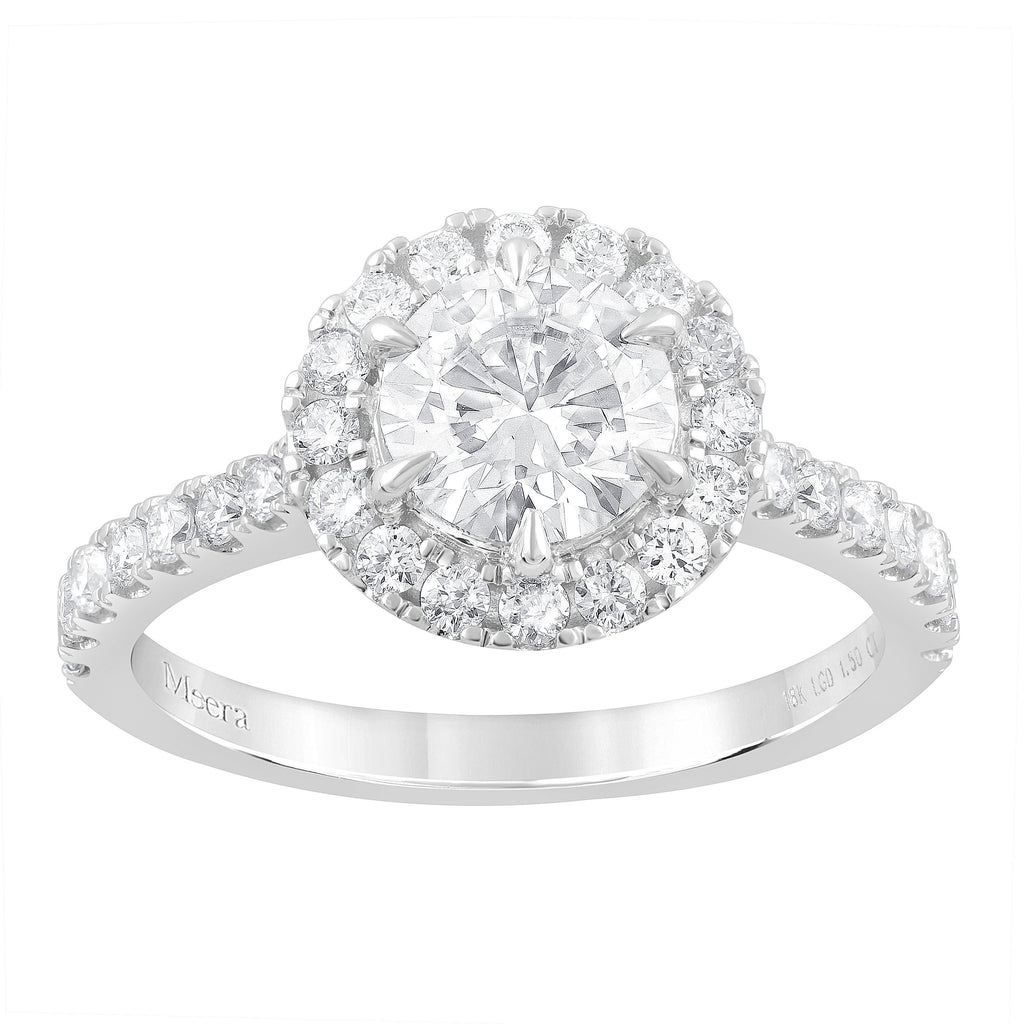 Meera Halo Ring with 1.50ct of Laboratory Grown Diamonds in 18ct White Gold Rings Bevilles