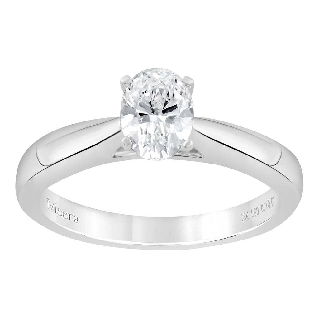 Meera Oval Solitaire 0.70ct Laboratory Grown Diamond Ring in 18ct White Gold Rings Bevilles