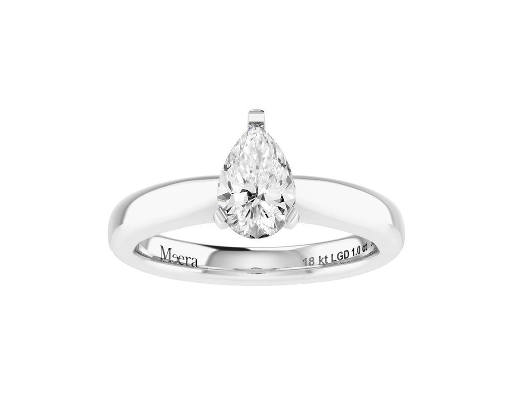 Meera Pear Solitaire 1.00ct Laboratory Grown Diamond Ring in 18ct White Gold Rings Bevilles
