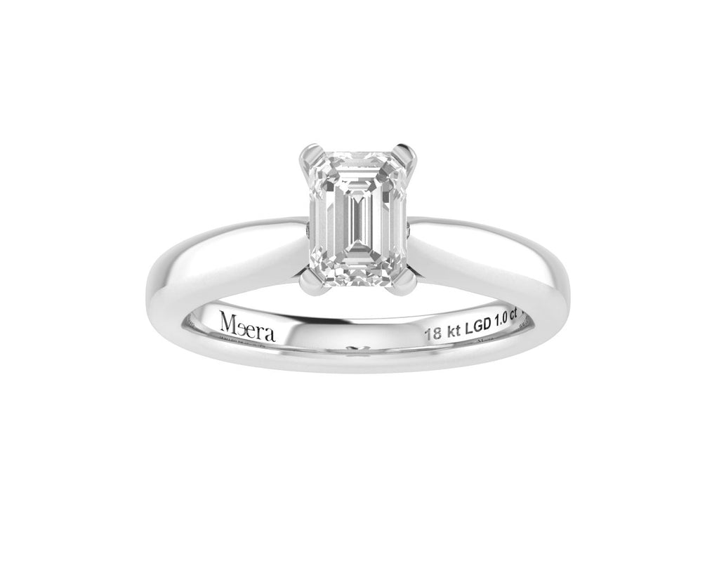Meera Emerald Cut Solitaire 1.00ct Laboratory Grown Diamond Ring in 18ct White Gold Rings Bevilles