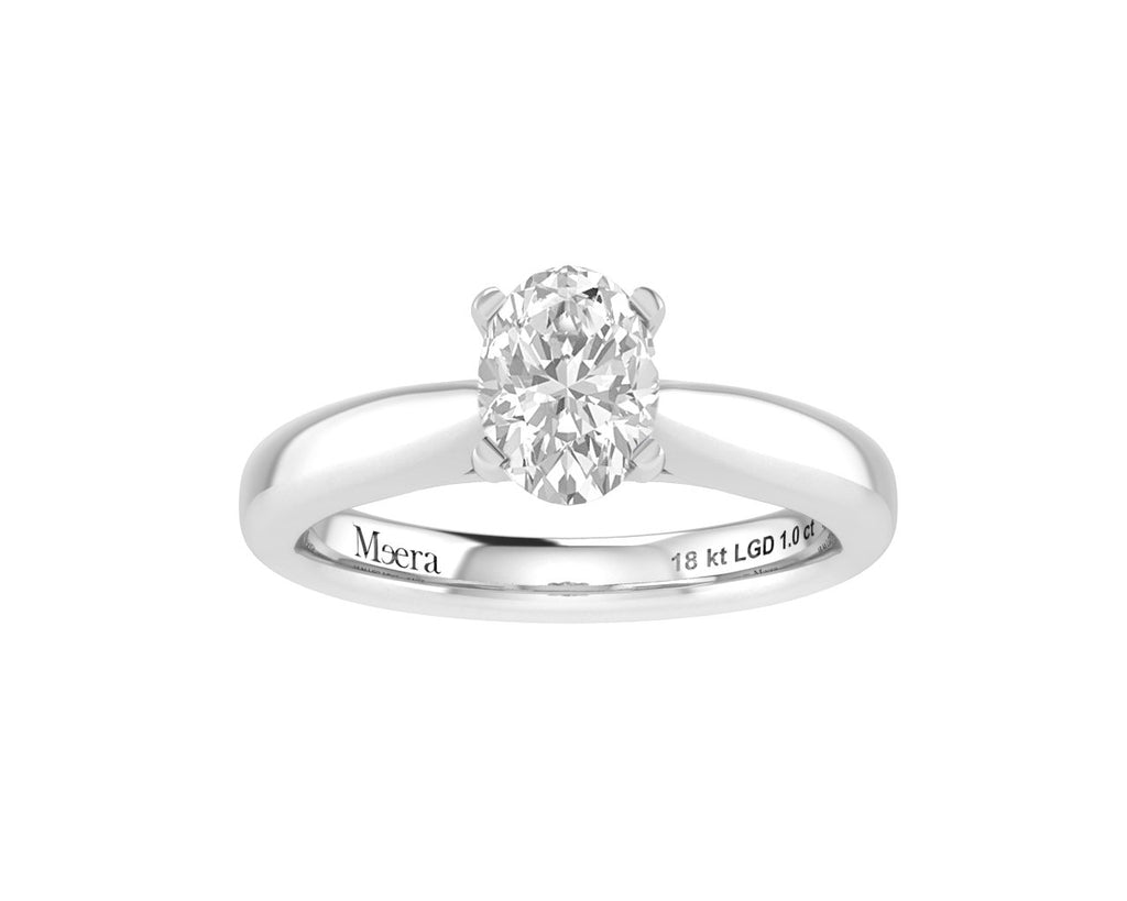 Meera Oval Cut Solitaire 1.00ct Laboratory Grown Diamond Ring in 18ct White Gold Rings Bevilles
