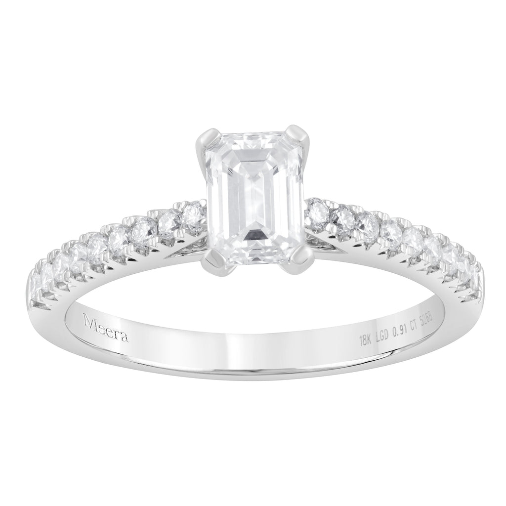 Meera Brilliant Shoulder Ring with 0.90ct of Laboratory Grown Diamonds in 18ct White Gold Rings Bevilles