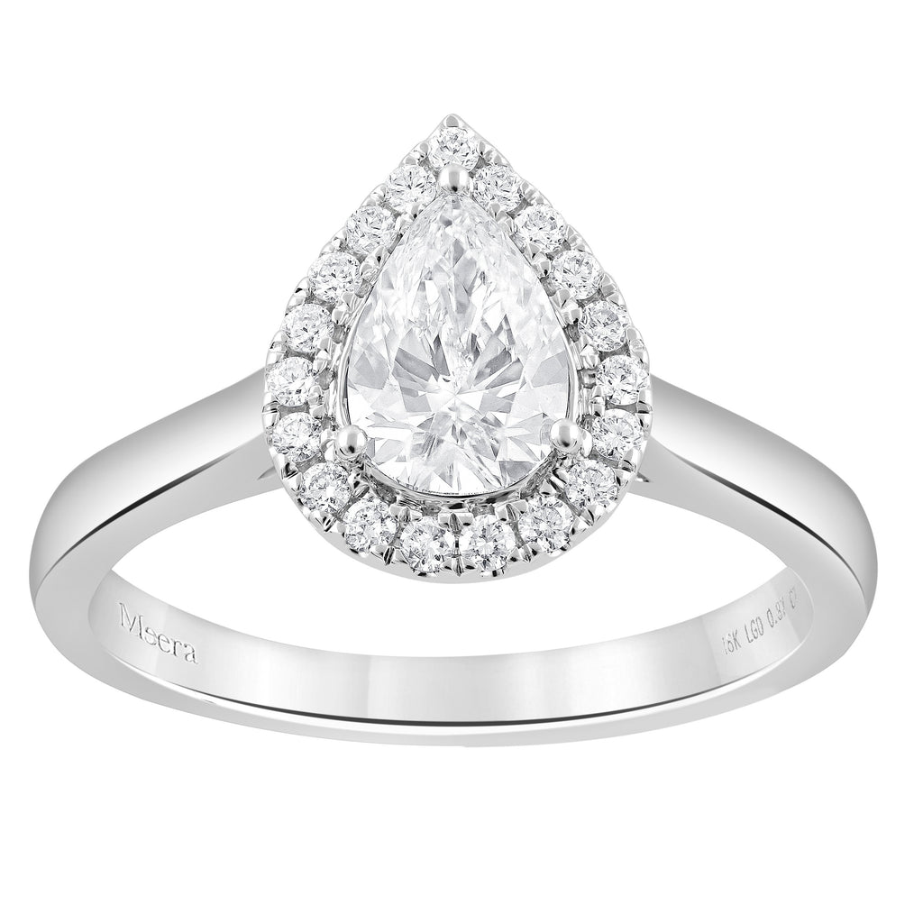 Meera Halo Ring with 0.85ct of Laboratory Grown Diamonds in 18ct White Gold Rings Bevilles