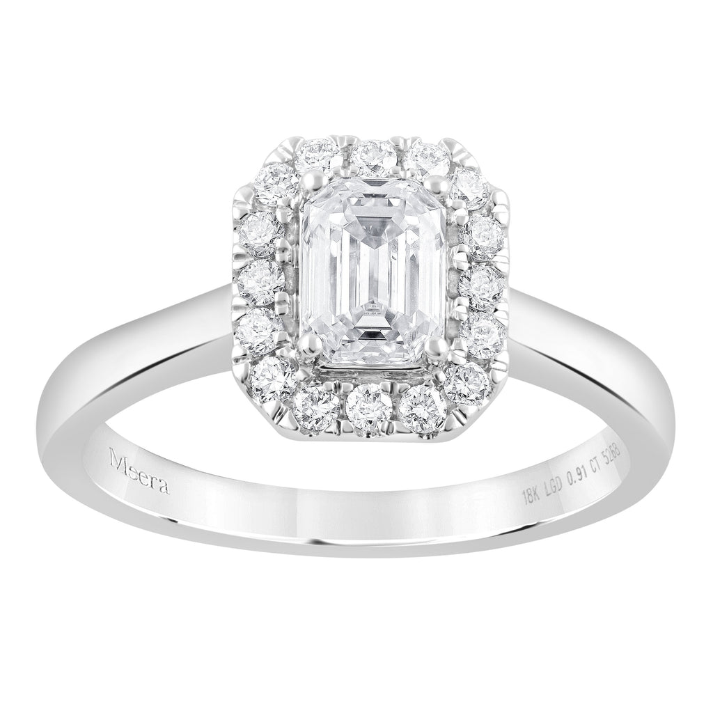 Meera Halo Ring with 0.90ct of Laboratory Grown Diamonds in 18ct White Gold Rings Bevilles