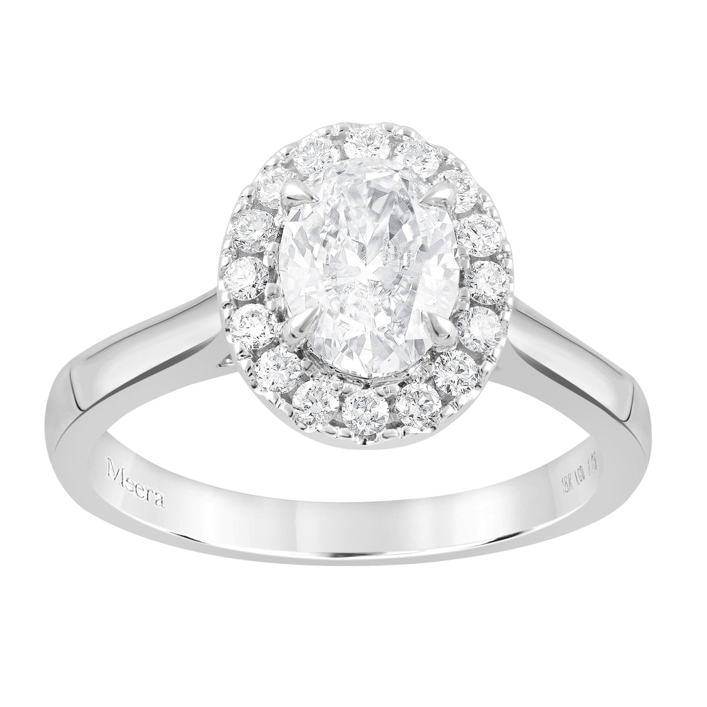Meera Halo Ring with 1.20ct of Laboratory Grown Diamonds in 18ct White Gold Rings Bevilles