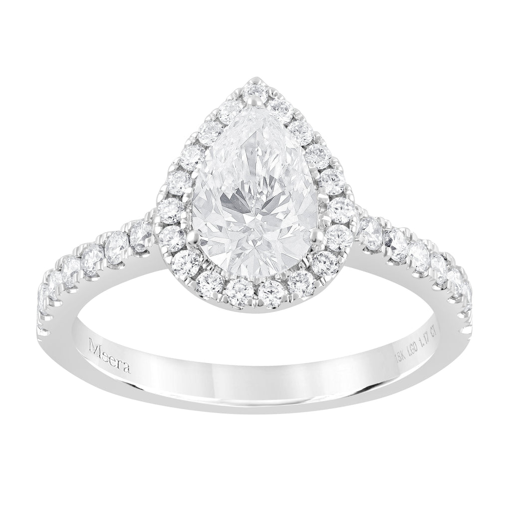 Meera Halo Ring with 1.10ct of Laboratory Grown Diamonds in 18ct White Gold Rings Bevilles