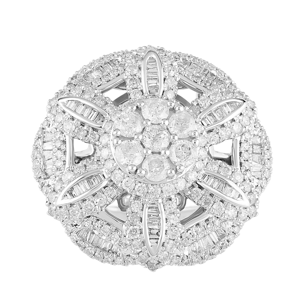 Flower Ring with 2.15ct of Diamonds in 9ct White Gold Rings Bevilles