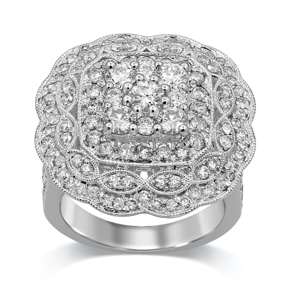 Brilliant Solitaire Milgrain Ring with 2.50ct of Diamonds in 18ct White Gold
