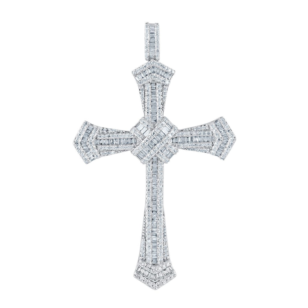 Large Cross Necklace with 1.50ct of Diamonds in 9ct White Gold Necklaces Bevilles