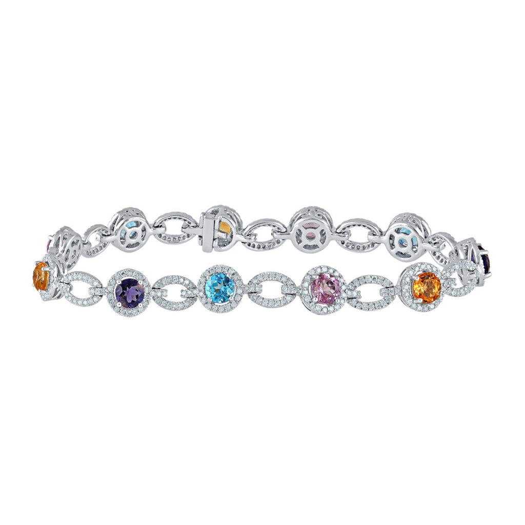 Amethyst Blue Topaz and Citrine Bracelet with 1.75ct of Diamonds in 9ct White Gold Bracelets Bevilles