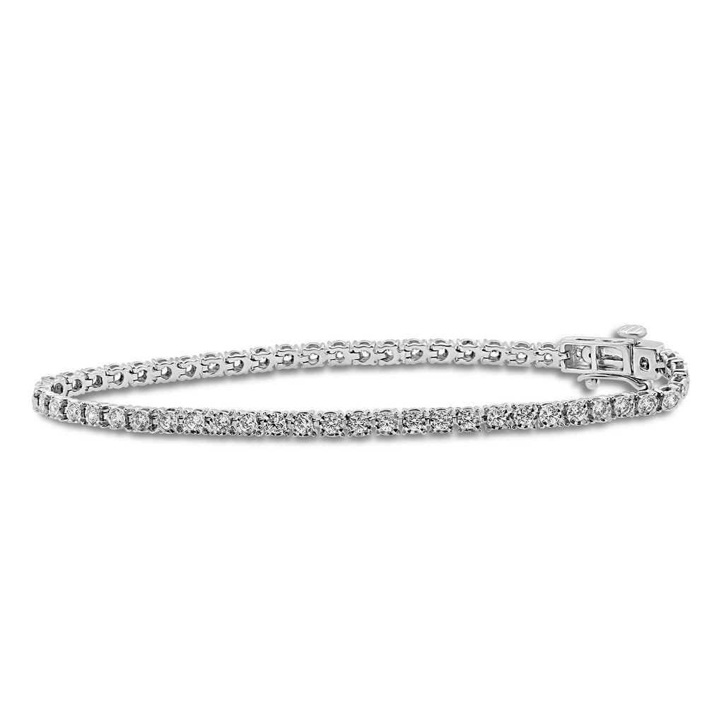 Tennis Bracelet with 1.50ct of Diamonds in 9ct White Gold Bracelets Bevilles