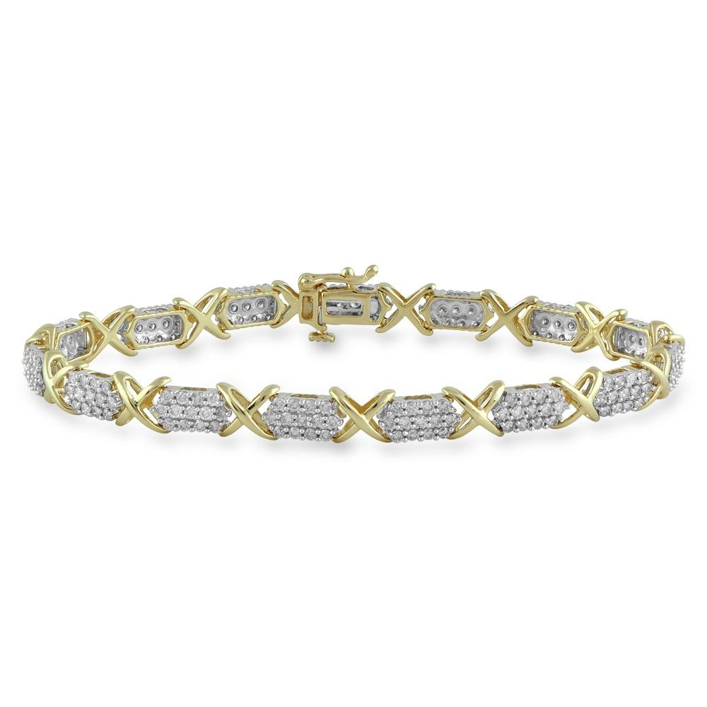 Brilliant Claw Multi Cluster X Link Bracelet with 3.00ct of Diamonds in 10ct Yellow Gold Bracelets Bevilles