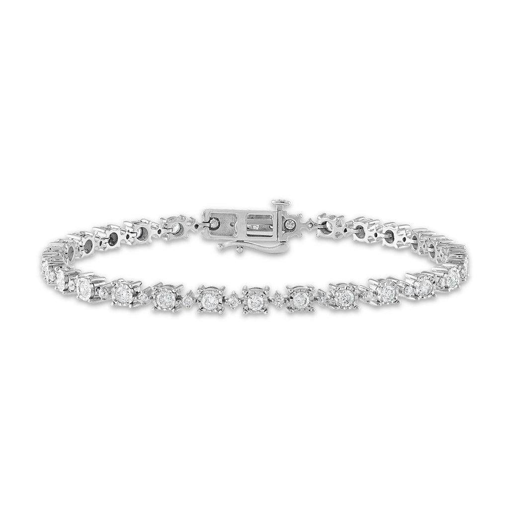 Miracle Halo Tennis Bracelet with 2.00ct Diamond in 14ct White Gold Bracelets Bevilles