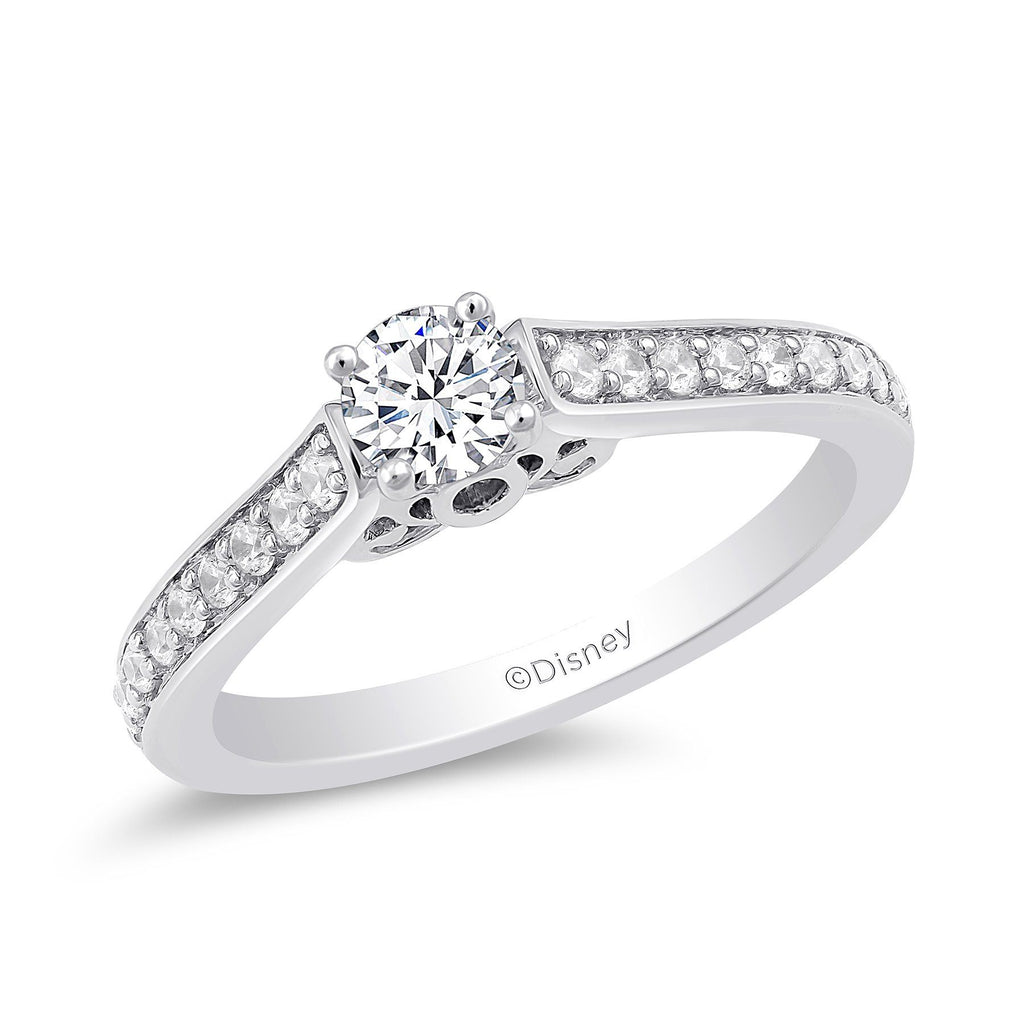 Enchanted Disney Fine Jewelry 9ct White Gold Cinderella Engagement Ring with 1/2ct Diamonds TDW Rings Enchanted Disney Fine Jewelry