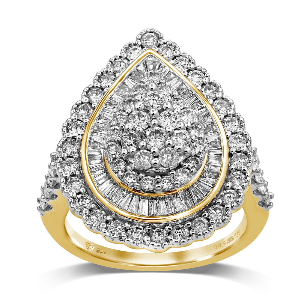 Brilliant Pear Shape Ring with 1.60ct of Diamonds in 9ct Yellow Gold Rings Bevilles