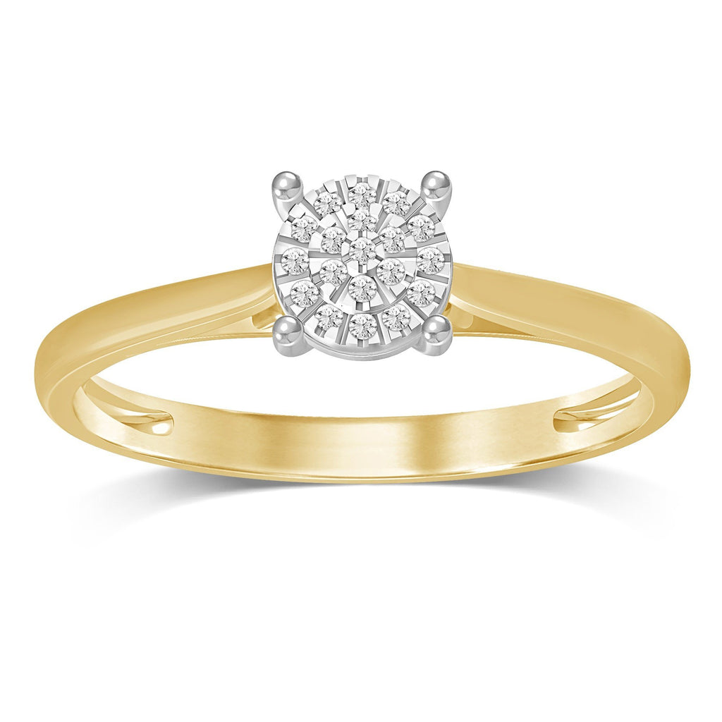 Martina Brilliant Illusion Diamond Ring in 9ct Yellow Gold Rings Bevilles