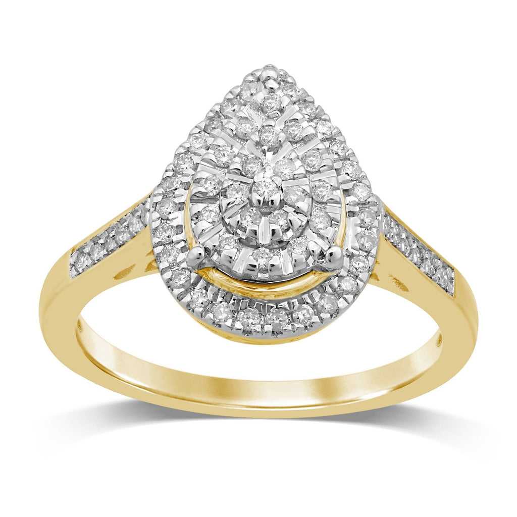 Martina Brilliant Pear Halo Ring with 1/4ct of Diamonds in 9ct Yellow Gold Rings Bevilles