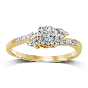 Martina Brilliant Illusion Ring with 1/5ct of Diamonds in 9ct Yellow Gold