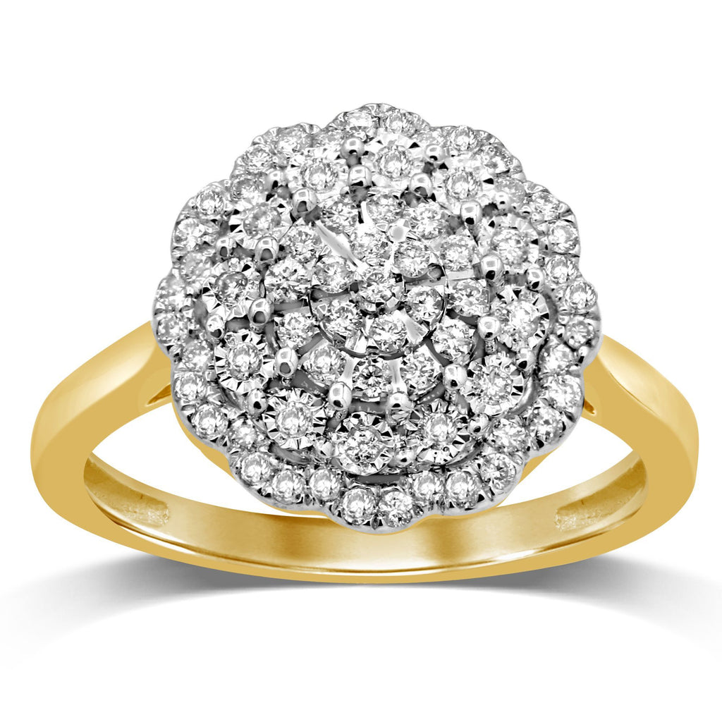 Martina Fancy Flower Statement Ring with 0.30ct of Diamonds in 9ct Yellow Gold Rings Bevilles
