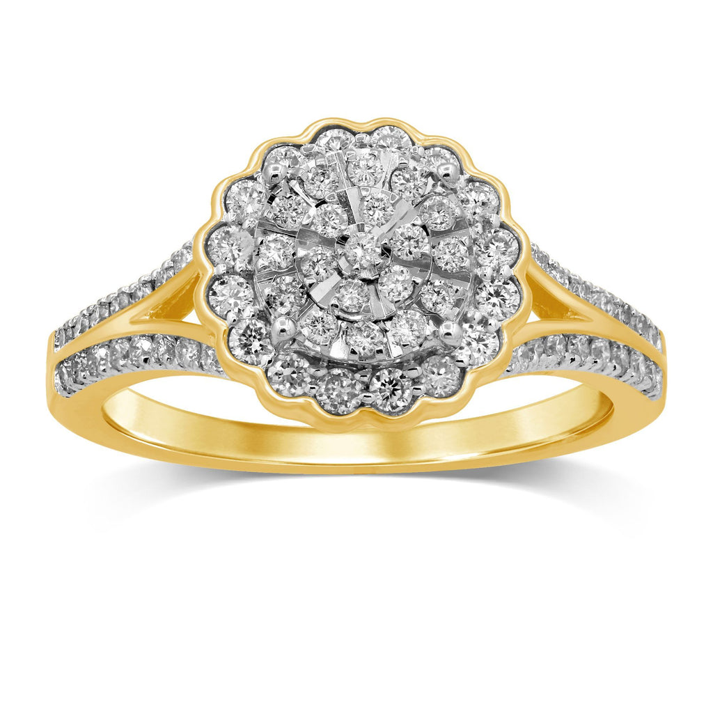 Martina Brilliant Claw Solitaire Look with Scallop Halo Ring with 1/2ct of Diamonds with 9ct Yellow Gold Rings Bevilles