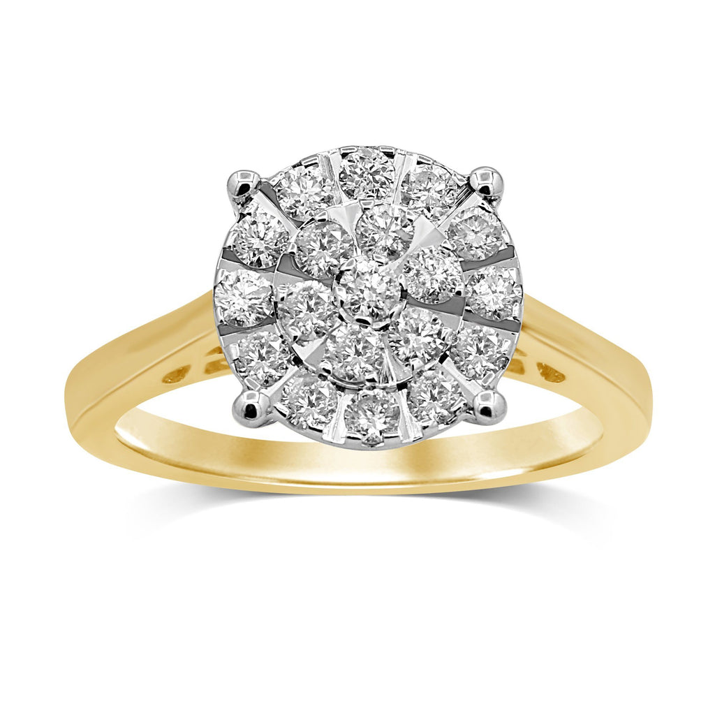 Martina Solitaire Look Ring with 0.55ct of Diamonds in 9ct Yellow Gold Rings Bevilles