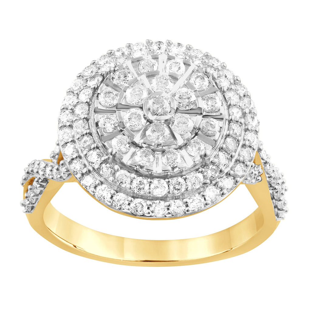 Martina Solitaire Look Double Halo Ring with 1.00ct of Diamonds in 9ct Yellow Gold Rings Bevilles