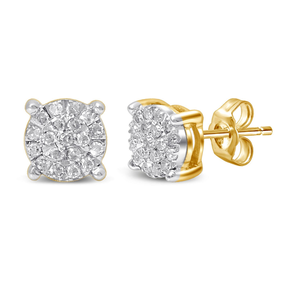 Martina Diamond Earrings with 0.15ct of Diamonds in 9ct Yellow Gold Earrings Bevilles
