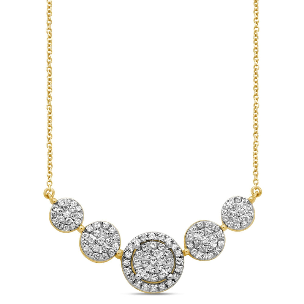 Martina Halo 5 Station Necklace with 1/2ct of Diamonds in 9ct Yellow Gold Necklaces Bevilles