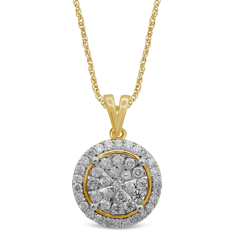 Martina Brilliant Illusion Solitaire Look Necklace with 1.00ct of Diamonds in 9ct Yellow Gold Necklaces Bevilles
