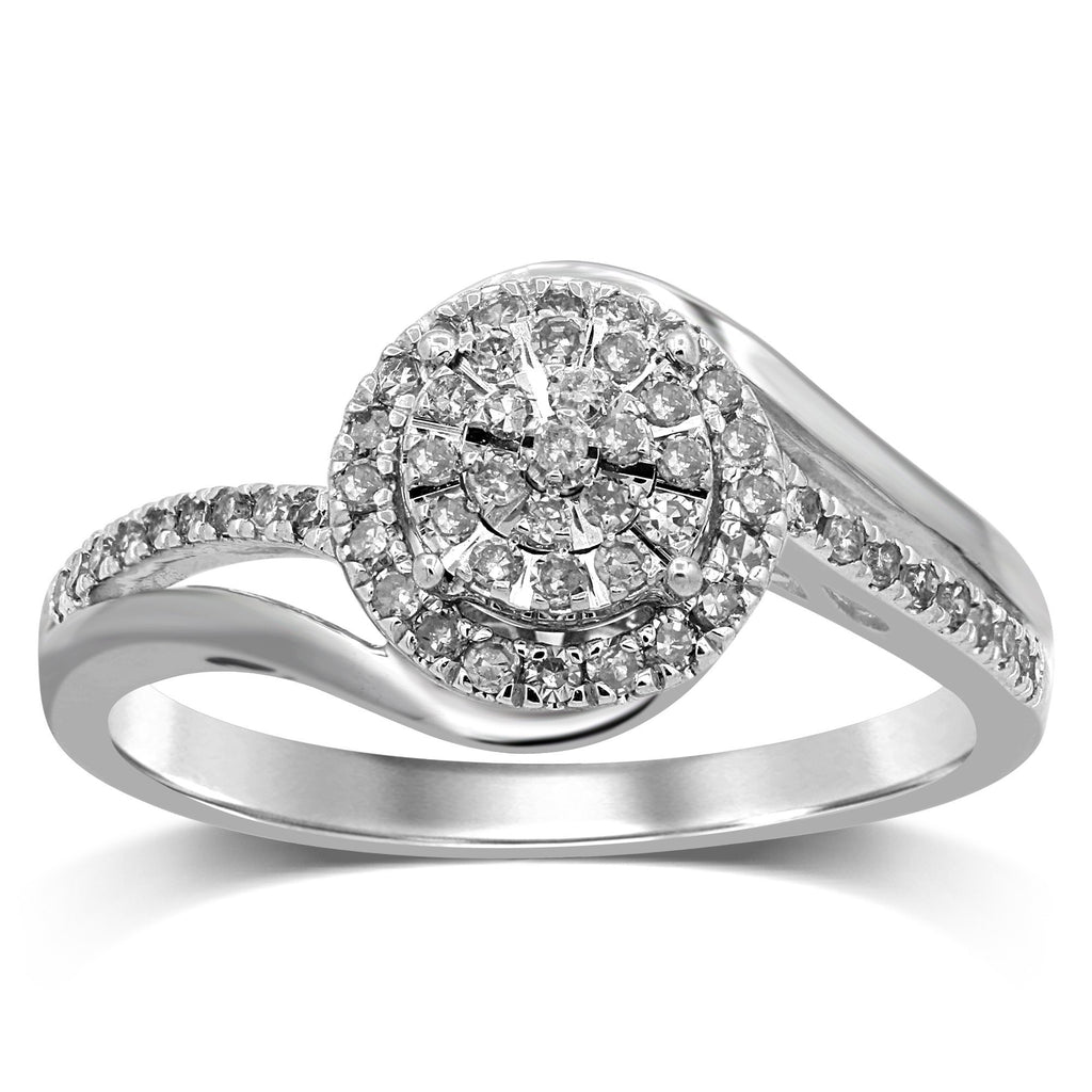 Martina Brilliant Illusion Solitaire Ring with 1/3ct of Diamonds in 9ct White Gold