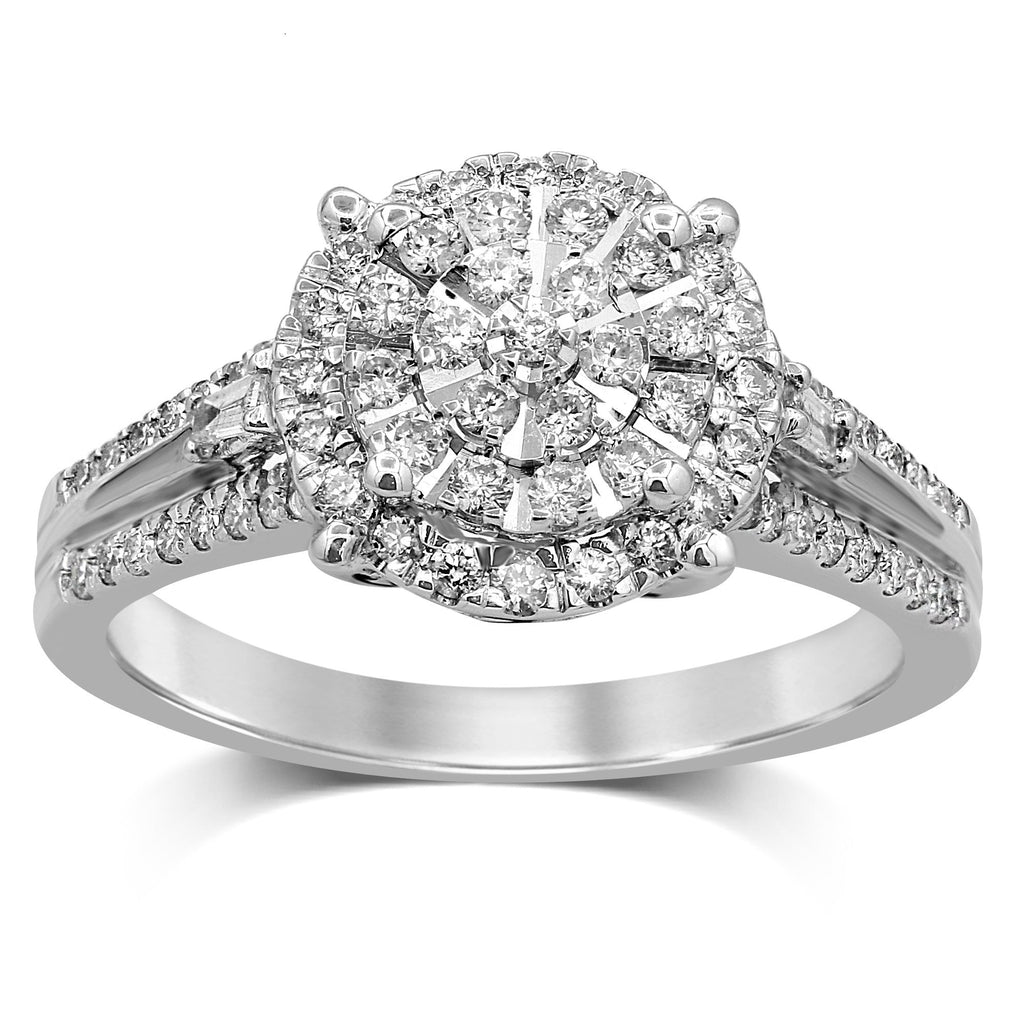 Martina Solitaire Look Ring with 1/2ct of Diamonds in 9ct White Gold Rings Bevilles