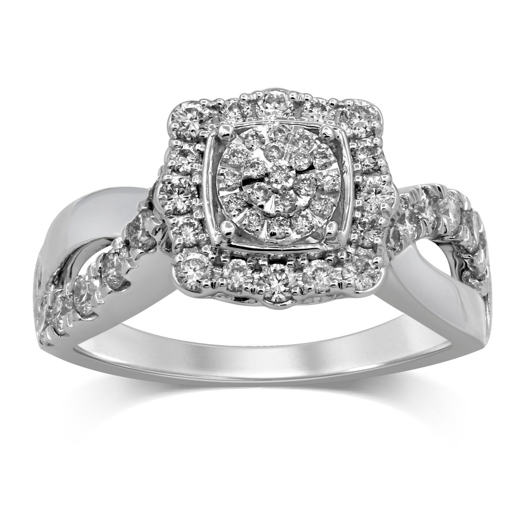 Martina Brilliant Claw Square Look Ring with 3/4ct of Diamonds in 9ct White Gold Rings Bevilles