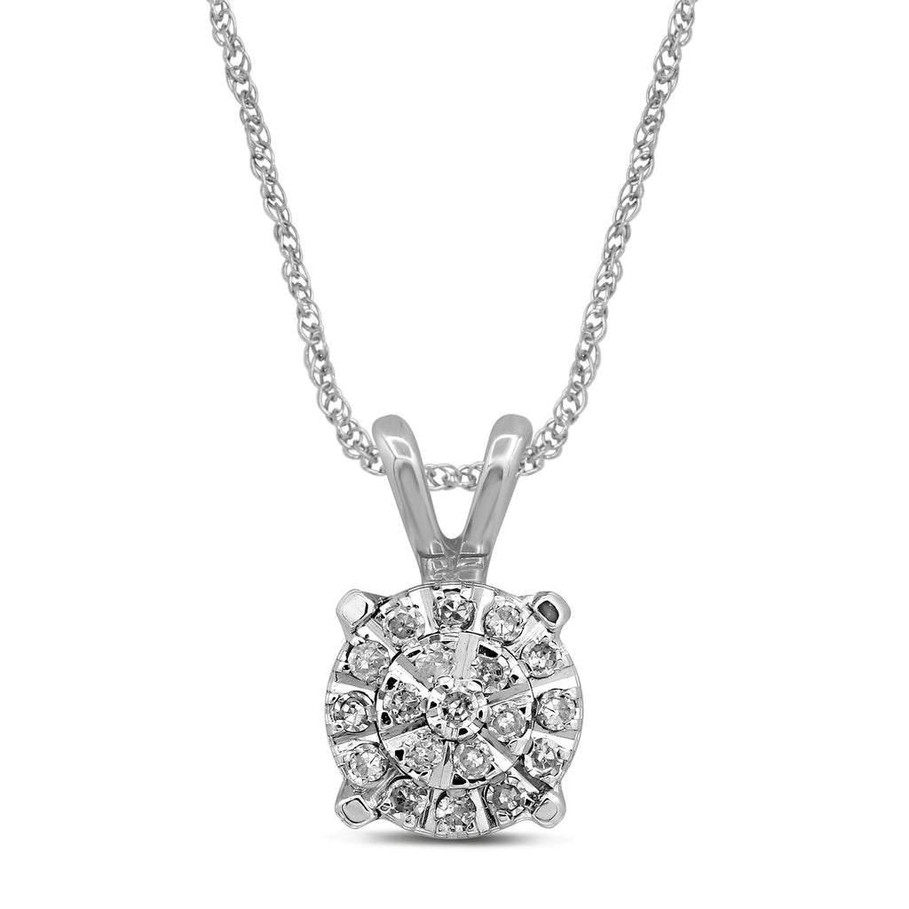 Martina Necklace with 0.10ct of Diamonds in 9ct White Gold Necklaces Bevilles
