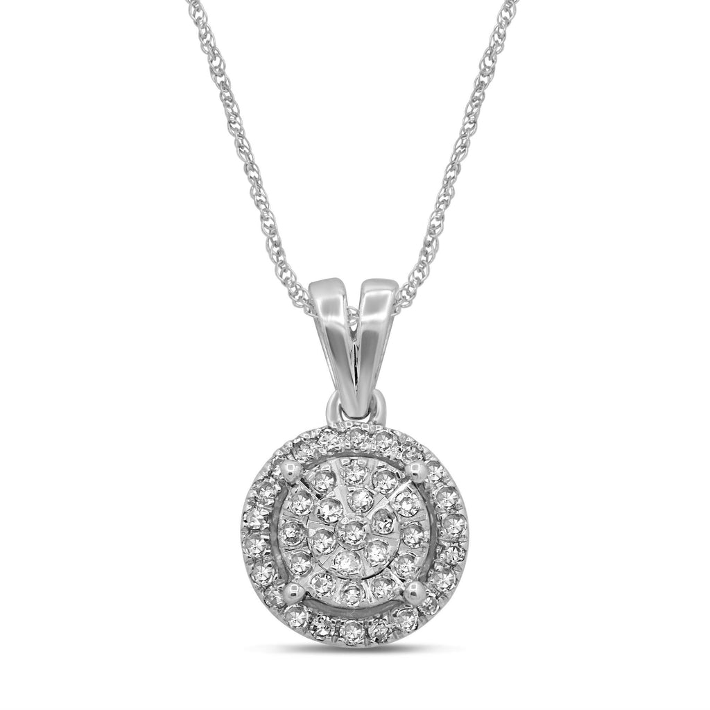 Martina Halo Necklace with 1/5ct of Diamonds in 9ct White Gold Necklaces Bevilles