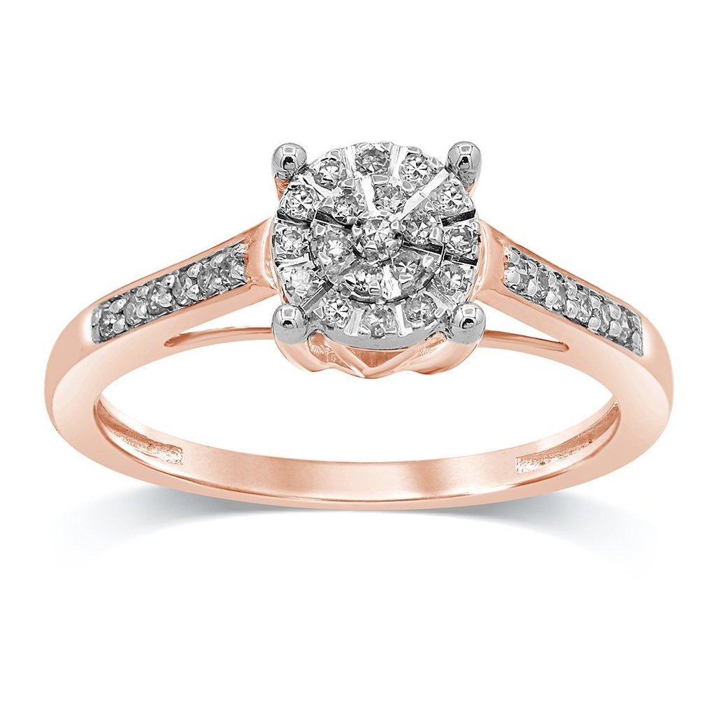 Martina Ring with 0.15ct of Diamonds in 9ct Rose Gold Rings Bevilles