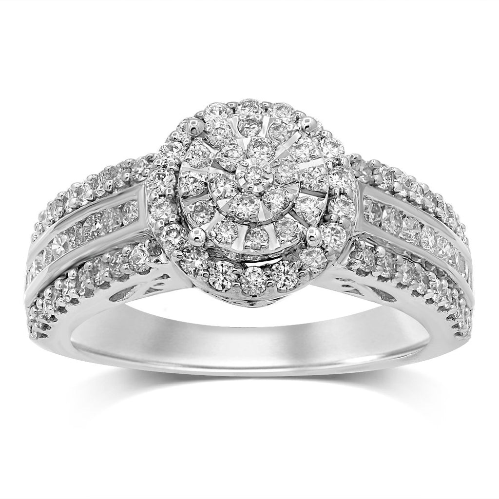 Martina Halo Ring with 3/4ct of Diamonds in 9ct White Gold Rings Bevilles