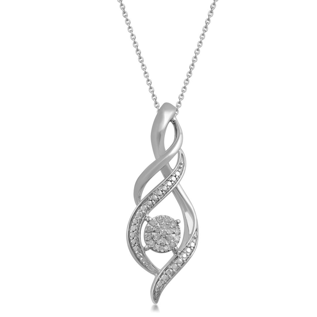 Martina Diamond Swirl Necklace in Sterling Silver Necklaces Bevilles