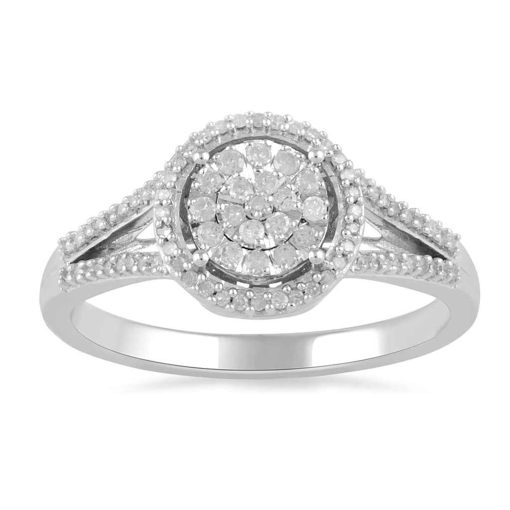 Martina 1/4ct of Diamonds Halo Ring in Sterling Silver Rings Bevilles