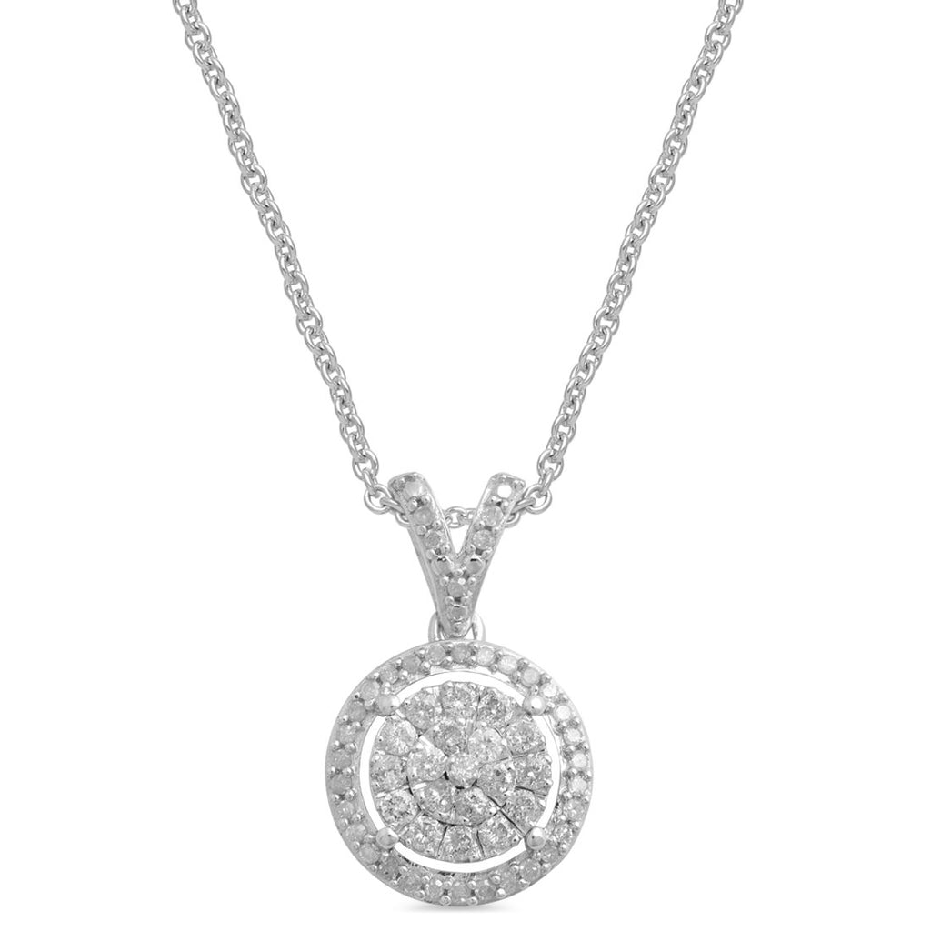 Martina Halo Necklace with 1/4ct of Diamonds in Sterling Silver Necklaces Bevilles