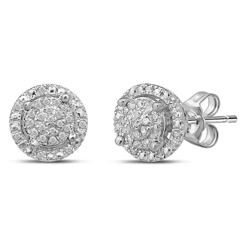 Martina Solitaire Look Halo Earrings with 0.10ct of Diamonds in Sterling Silver Earrings Bevilles