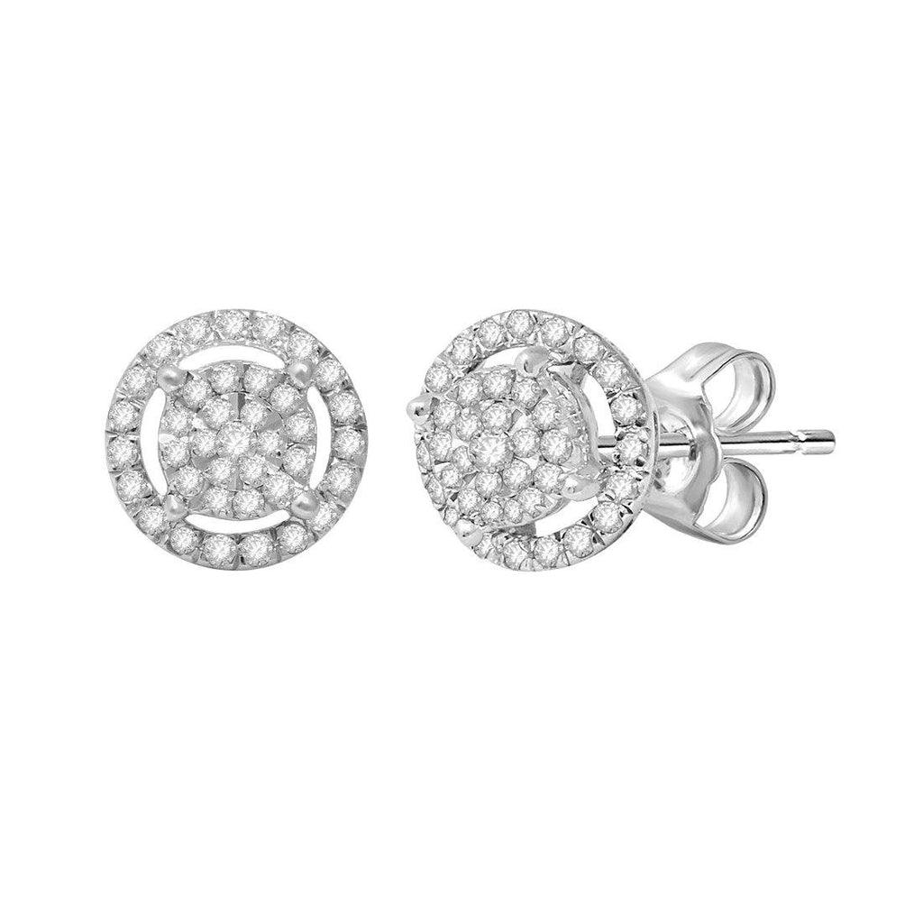 Martina Solitaire Look Halo Stud Earrings with 1/3ct of Diamonds in Sterling Silver Earrings Bevilles