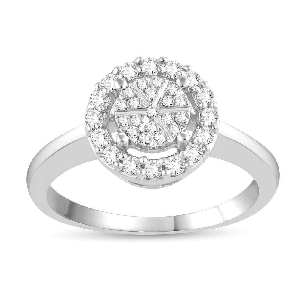 Martina Solitaire Look Halo Ring with 1/4ct of Diamonds in Sterling Silver Rings Bevilles