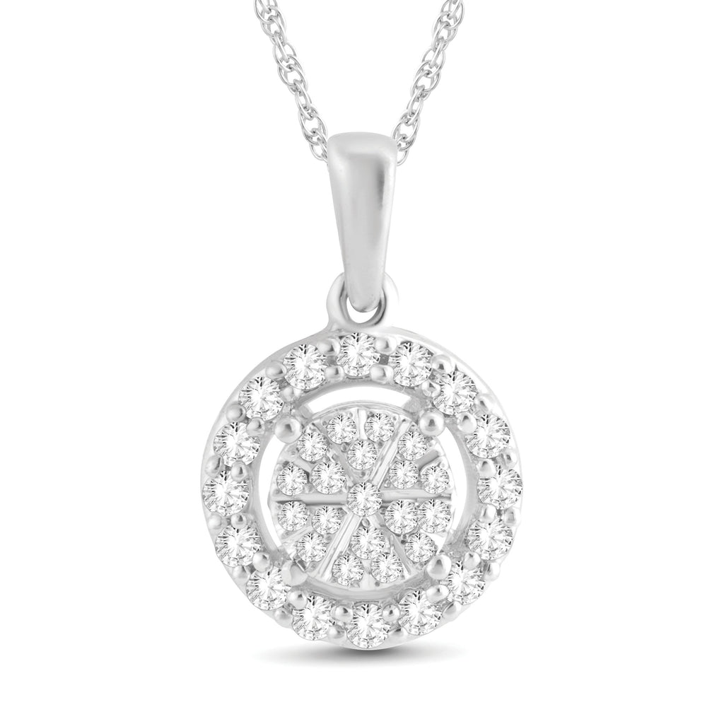 Martina Solitaire Look Halo Necklace with 1/4ct of Diamonds in Sterling Silver Necklaces Bevilles