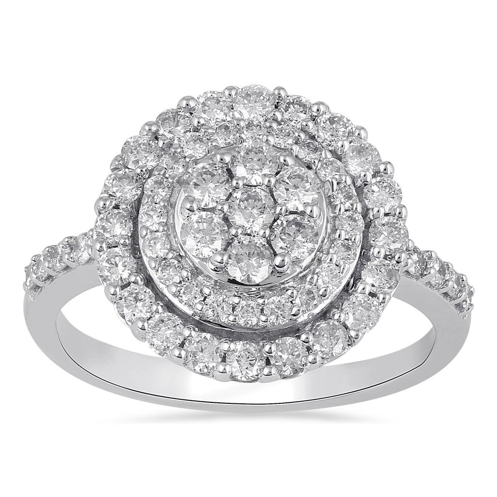 Brilliant Illusion Cluster Ring with 1.00ct of Diamonds in 9ct White Gold Rings Bevilles
